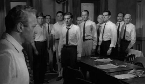 "12 angry men influence The interaction of the ""12 angry men"" has an influence on the sequence of votes and the majority view of ""guilty"" at the twelve angry men."